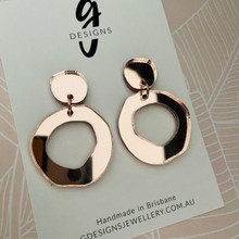 Statement Earrings - ROSE GOLD MIRROR  - Hollow Organic Shape