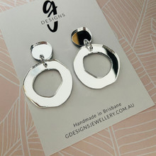 Statement Earrings - SILVER MIRROR  - Hollow Organic Shape