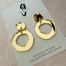 Statement Earrings - YELLOW GOLD MIRROR  - Hollow Organic Shape