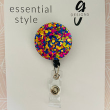 Retractable Badge Reel - Acrylic - 'PARTYTIME GLITTER'