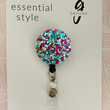 Retractable Badge Reel - Acrylic - 'SPRINGSNOW GLITTER'