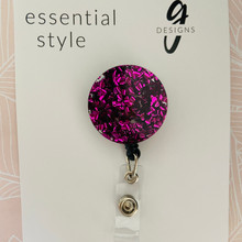 Retractable Badge Reel - Acrylic - 'VIOLET GLITTER'