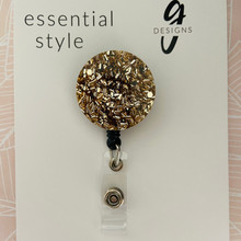 Retractable Badge Reel - Acrylic - 'LIGHT GOLD GLITTER'