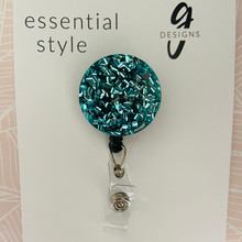 Retractable Badge Reel - Acrylic - 'TEAL GLITTER'