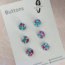 Buttons - 15mm Circle - 'SPRINGSNOW GLITTER'