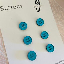 Buttons - 15mm Circle - 'TEAL MIRROR'