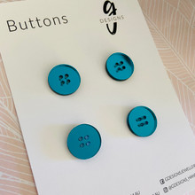 Buttons - 20mm Circle - 'TEAL MIRROR'