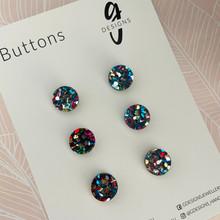 Buttons - 15mm Circle - 'RAINBOW GLITTER'