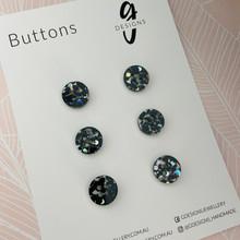 Buttons - 15mm Circle - 'BLACK GLITTER'