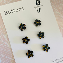 Buttons - 15mm Flower - 'BLACK TUNNEL'
