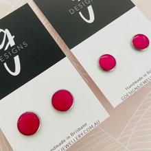 Stud Earrings - Bezel Set - Clay - 'ROSE' - Fuschia
