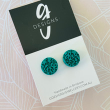 Stud Earrings - 'ANTIQUE LACE' - JADE GREEN - Regular Size - STUDS