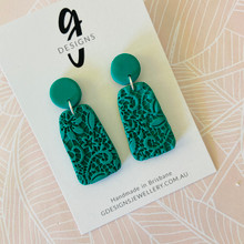Statement Earrings - 'ANTIQUE LACE' - JADE GREEN - Trapezium Drops