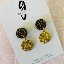 Statement Earrings - Black & Gold - Clay & Brass