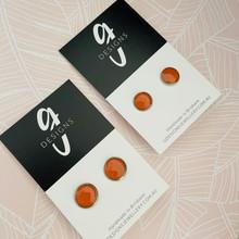 Stud Earrings - Bezel Set - Clay - 'JANE' - Burnt Orange