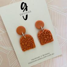 Statement Earrings - 'ANTIQUE LACE' - CORAL ORANGE - Arch Half