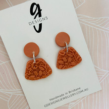 Statement Earrings - 'ANTIQUE LACE' - CORAL ORANGE - Abstract Shape