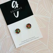 Mini Stud Earrings - Acrylic - Mini Circle - CONFETTI GLITTER