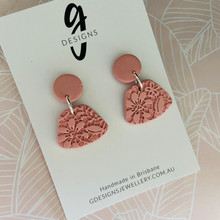 Statement Earrings - 'ANTIQUE LACE' - MUSK PINK - Abstract Shape