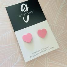 ACRYLIC Stud Earrings - HEART -  Pastel - MUSK - Regular Size