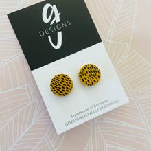 Stud Earrings - Polymer Clay - 'Mustard/Black' - Regular Size