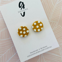 Mega Stud Earrings - Clay - Spotty Dotty - Mustard/White - Mega Size