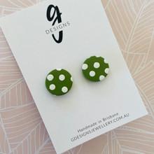 Mega Stud Earrings - Clay - Spotty Dotty - Olive Green/White - Mega Size