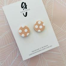 Mega Stud Earrings - Clay - Spotty Dotty - Blush Pink/White - Mega Size