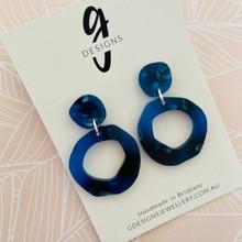 Statement Earrings - Acrylic - DEEP SEA BLUE - Hollow Organic Shape