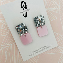 Statement Earrings - Acrylic -  Pearlescent Pink / Silver Glitter - Square - Dangles