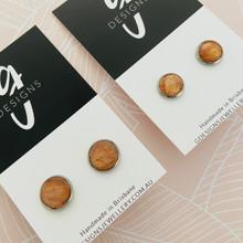 Stud Earrings - Bezel Set - Clay - 'JANET' - Metallic Copper