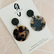 Statement Earrings - Tortoise Shell - Circle - Black/Cream - Black Clay Stud Top - 2560