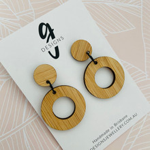 Bamboo - Statement Earrings  - Circle - Dangles - 2164