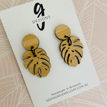 Bamboo - Statement Earrings  - Monstera Leaf - Dangles