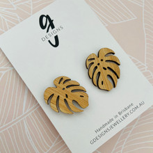Bamboo - Statement Earrings  - Monstera Leaf - Stud - 2153