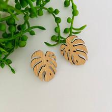Bamboo - Statement Earrings  - Monstera Leaf - Stud - 2153