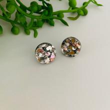 Stud Earrings - Silver Glitter Acrylic - Circle - 2521