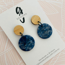 Statement Earrings - Acrylic - Blue Tortoise Shell - Mid Size Circle - Bamboo Stud Top - 8957