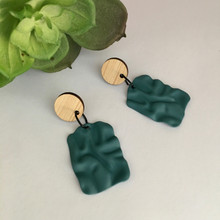 Statement Earrings - Rippled Metal - Rectangles - Teal Blue - 5936
