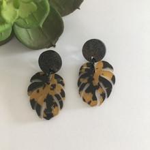 Statement Earrings - Acrylic - Lovin' Leopard - Monstera - 6473