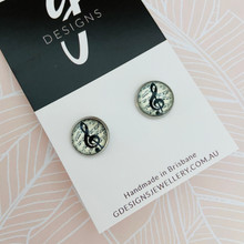 Stud Earrings - Bezel Set -  MUSIC NOTE - 7935