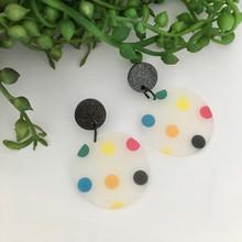 Statement Earrings - Acrylic - Mega Spots - Black Sparkle Acrylic Stud Top - 8235