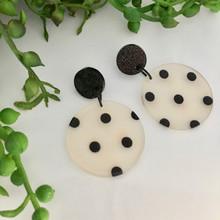 Statement Earrings - Acrylic - Monochrome Mega Spots - Black Sparkle Acrylic Stud Top - 8242