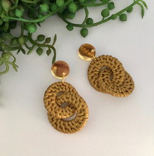 Statement Earrings - Rattan - Megas - Mustard - Yellow Gold Mirror Stud Top - 8248