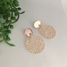 Statement Earrings - Acrylic - 'Tunnel' - White/Rose Gold - 0001