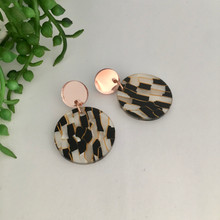 Statement Earrings - Acrylic - 'Tunnel' - Black&White/Rose Gold - 9997