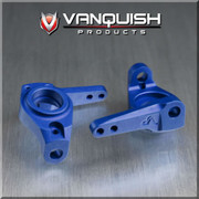 Vanquish Products Aluminum 8 Degree Knuckles for Axial SCX10  Zero Ackerman Knuckles allows tighter turning radius Anodized for durability May require wider wheel hexes if not running Vanquish wheels with adjustable offsets Will require new tie rod and drag link due to product being a high steer Zero Ackermann Knuckle Works with SCX10, AX10, Honcho, Dingo, JK and G6 Similar to AX30496, AX80004    ****Requires Vanquish 8 Degree Knuckles