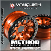 Compatible with other outer Vanquish OMF 1.9 beadlock rings Based on our popular 1.9 OMF clamp ring bead lock mounting platform Rapid fast tire changes with only 5 screws Light weight and strong durability design Grade 5 stainless Steel hardware High clearance inner wheel well Choose multiple offsets to adjust track width Vanquish Products patented wheel hub system These are a 1.0 wide wheel to the outside beadlock Carefully designed to be a precise scale replica of the full sized Method Race Wheel Laser engraved Method logo on wheel face    Includes the following:  2pcs Method 1.9 RC Beadlock Wheels 2pcs Aluminum Rear Beadlock Rings 2pcs Aluminum Internal clamping ring 2pcs Outside Black Beadlock ring  ***SLW Hubs are not included, so be sure to include SLW hubs.