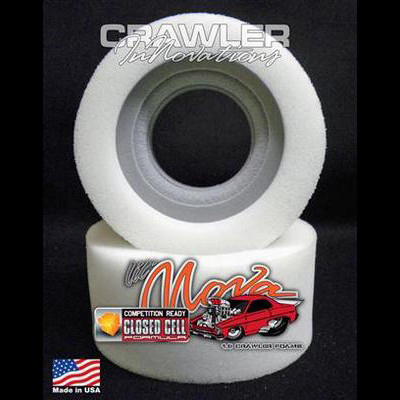 "Crawler Innovations is excited to bring a new material and design to the RC Rock Crawling, & Scale RC Crawling hobby / sport. This new design features a closed cell inner foam with a conventional outer. The closed cell inner foam is super dense, water proof, is not temperature sensitive and is extremely durable. The conventional outer foam is not temperature sensitive, but it is not water proof. The closed cell inner foams are designed for 1"" wide bead locks. The outer foam is Over- Sized on purpose to encase the closed cell inner, and to provide for weight support. This is the tallest height of the 1.9 closed cell inners and is designed for scalers weighing 9 - 12 pounds using tires 4.750"" to 5.0"" Tall.   1.9 Lil' Nova Outer Foam Choices: Soft Medium Firm"