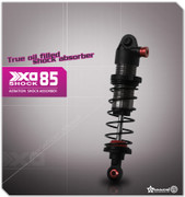 XD Aeration Shock Absorber 85mm (2  Main features: Emulsion shocks mix with oil & air, it is easy to build and works better in a bumps and jumps, landing and overall in a rough surface feels good. CNC machined aluminum shock bodies and aeration screws Titanium gray anodized shock bodies Red anodized aeration screws Lower shock ends includes red anodized aluminum balls Fully threaded for rapid adjustment Delrin pistons 3.5mm thick shock shafts Shaft exits through double O-ring seals Easy load shock seal assembly Laser engraved for authenticity Fits 1/10 scale crawlers & trucks, 1/10 scale Short course trucks (such as Tamiya F350 High-lift, Traxxas 2WD Slash front) What's included: Titanium gray anodized aluminum shock bodies x 2 Red anodized aluminum aeration screws x 2 Shock springs x 2 All necessary hardware to finish the shocks Assembly instructions Bottle of shock oil Specs: Length (Mounting hole to hole): 85mm Shock Body Diameter: 14mm Spring Diameter: 19mm Spring Length: 50mm Full Shaft Travel Range: 22mm (without Rubber bump stop) Shaft Diameter: 3.5mm